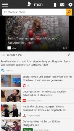 Vorschau der mobilen Webseite auskunft.msn.de, MSN Straße und Verkehr