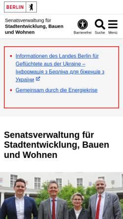 Vorschau der mobilen Webseite www.stadtentwicklung.berlin.de, Senatsverwaltung für Stadtentwicklung