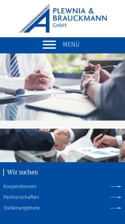 Vorschau der mobilen Webseite www.versicherung-plewnia.de, Assekuranzmakler Plewnia & Brauckmann GmbH