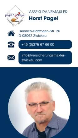 Vorschau der mobilen Webseite www.versicherungsmakler-zwickau.com, Pagel & Kollegen, Inh. Horst Pagel
