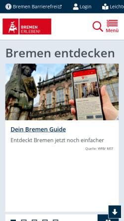 Vorschau der mobilen Webseite www.bremen.de, Bremen.online - die Bremer Stadtinformanten