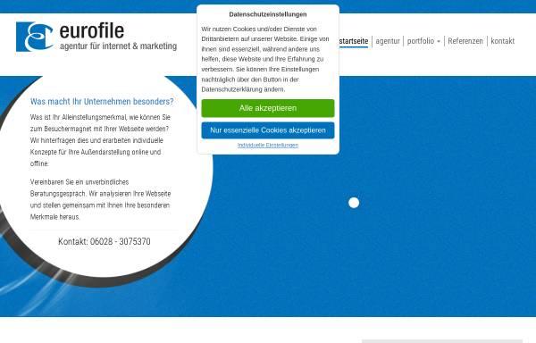 Vorschau von www.eurofile.de, Werbeagentur New Media - Inh. Volker Stegmann