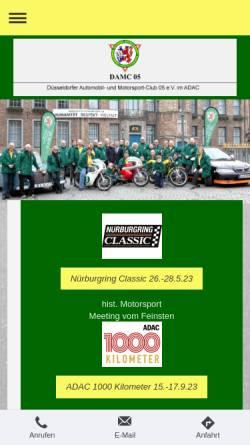 Vorschau der mobilen Webseite www.damc05.de, Düsseldorfer Automobil- und Motorsport-Club 05 e.V.