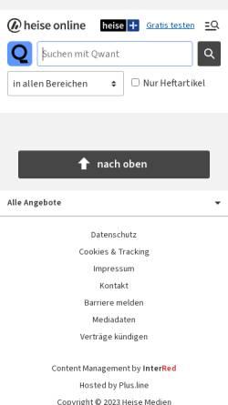 Vorschau der mobilen Webseite www.heise.de, heise News