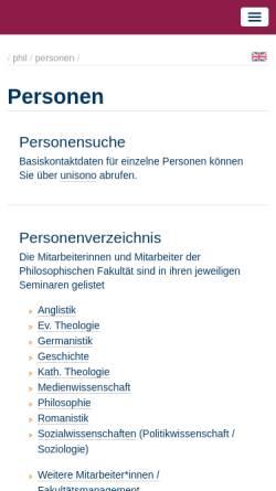 Vorschau der mobilen Webseite www.uni-siegen.de, Bollenbeck, Prof. Dr. Georg
