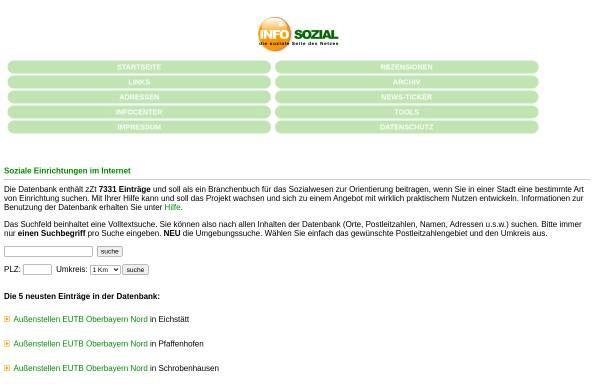 Vorschau von www.info-sozial.de, Soziale Einrichtungen Online