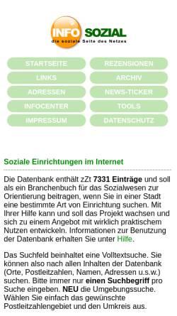 Vorschau der mobilen Webseite www.info-sozial.de, Soziale Einrichtungen Online
