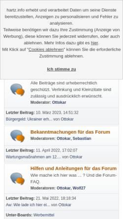 Vorschau der mobilen Webseite hartz.info, Hartz IV Forum