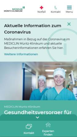 Vorschau der mobilen Webseite www.mueritz-klinikum.de, Müritz Klinikum GmbH