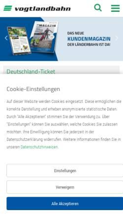 Vorschau der mobilen Webseite www.vogtlandbahn.de, Vogtlandbahn