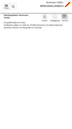 Vorschau der mobilen Webseite www.moenchengladbach.de, Stadt Mönchengladbach