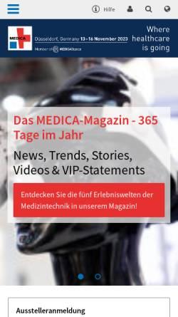 Vorschau der mobilen Webseite www.medica.de, Messe Düsseldorf GmbH