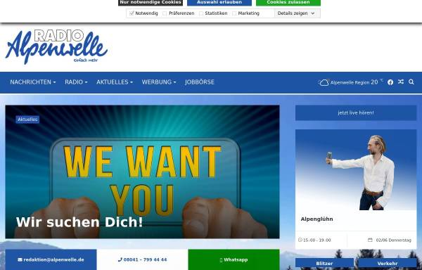 Vorschau von www.alpenwelle.de, Radio Alpenwelle