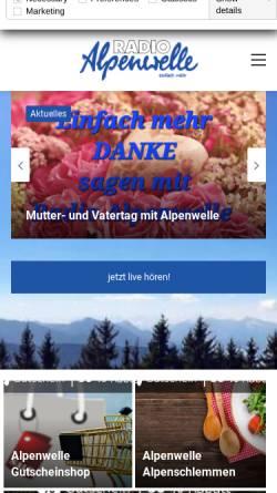 Vorschau der mobilen Webseite www.alpenwelle.de, Radio Alpenwelle