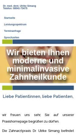 Vorschau der mobilen Webseite www.drsimang.de, Zahnarztpraxis Dr. med. dent. Ulrike Simang