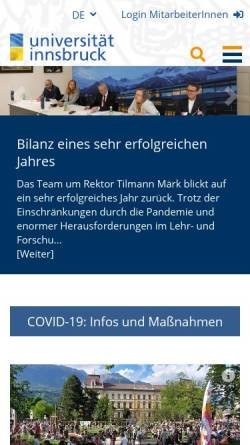 Vorschau der mobilen Webseite www.uibk.ac.at, Universität Innsbruck