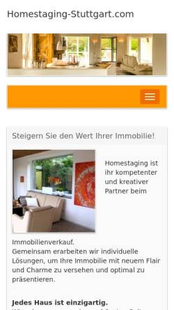 Vorschau der mobilen Webseite www.homestaging-stuttgart.com, Braun, Volker; Mitschke, Ulrike; Exner, Simon