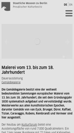 Vorschau der mobilen Webseite www.smb.museum, Berlin, Gemäldegalerie