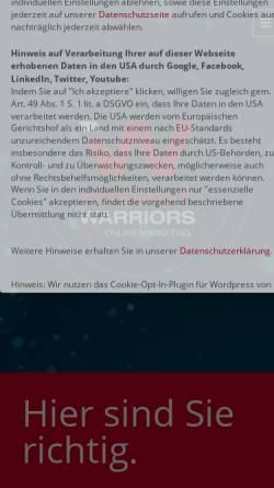Vorschau der mobilen Webseite www.internetwarriors.de, Internetwarriors GmbH