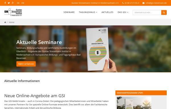 Vorschau von www.gsi-bevensen.de, Gustav-Stresemann-Institut in Niedersachsen - Europäisches Bildungs und Tagungshaus