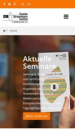 Vorschau der mobilen Webseite www.gsi-bevensen.de, Gustav-Stresemann-Institut in Niedersachsen - Europäisches Bildungs und Tagungshaus