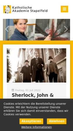 Vorschau der mobilen Webseite www.ka-stapelfeld.de, Katholische Akademie Stapelfeld
