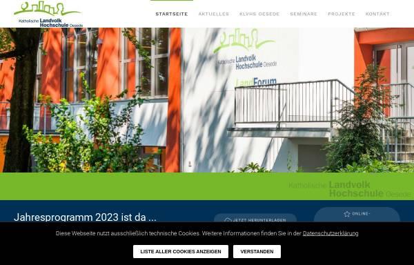 Vorschau von www.klvhs.de, Katholische LandvolkHochschule Oesede