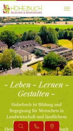 Vorschau der mobilen Webseite www.hohebuch.de, Ländliche Heimvolkshochschule und Evangelische Bauernschule Hohebuch