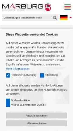 Vorschau der mobilen Webseite www.marburg.de, Universitätsstadt Marburg