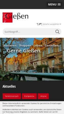 Vorschau der mobilen Webseite www.giessen.de, Universitätsstadt Gießen