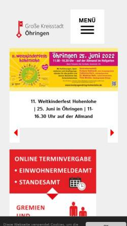 Vorschau der mobilen Webseite www.oehringen.de, Stadt Öhringen