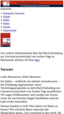 Vorschau der mobilen Webseite www.uni-due.de, Einladung zur Literaturwissenschaft