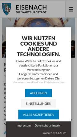 Vorschau der mobilen Webseite www.eisenach.de, Wartburgstadt Eisenach