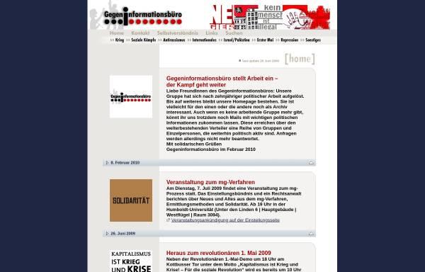 Vorschau von www.gegeninformationsbuero.de, Gegeninformationsbüro