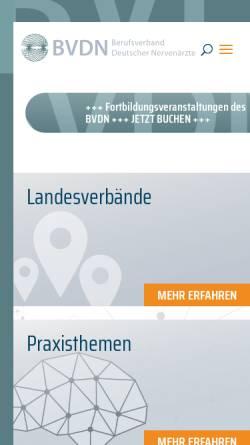 Vorschau der mobilen Webseite www.bvdn.de, Berufsverband Deutscher Nervenärzte e.V.