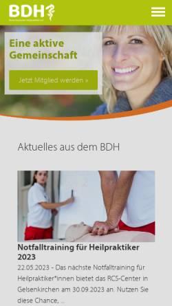Vorschau der mobilen Webseite www.bdh-online.de, Bund Deutscher Heilpraktiker (BDH)