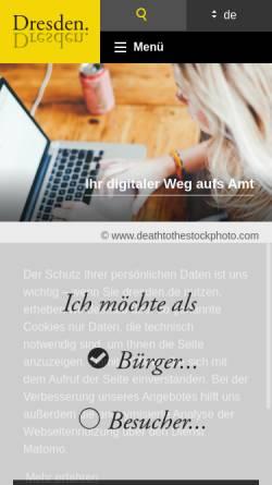 Vorschau der mobilen Webseite www.dresden.de, Landeshauptstadt Dresden