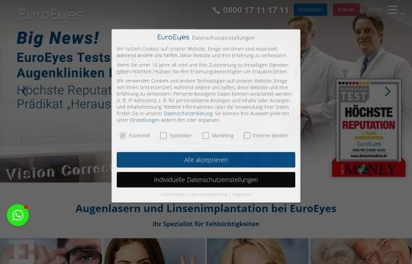 Vorschau von www.euroeyes.de, EuroEyes Kliniken