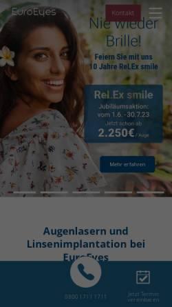 Vorschau der mobilen Webseite www.euroeyes.de, EuroEyes Kliniken