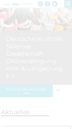 Vorschau der mobilen Webseite www.dmsg-koeln.de, Multiple Sklerose Selbsthilfe