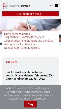 Vorschau der mobilen Webseite anwaltverein-stuttgart.de, AnwaltVerein Stuttgart e.V.