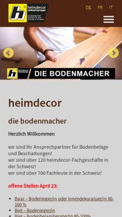 Vorschau der mobilen Webseite www.heimdecor.ch, GK heimdecor AG