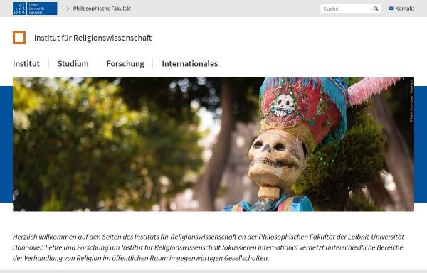 Vorschau von www.ithrw.uni-hannover.de, Seminar für Religionswissenschaft der Universität Hannover