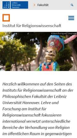 Vorschau der mobilen Webseite www.ithrw.uni-hannover.de, Seminar für Religionswissenschaft der Universität Hannover