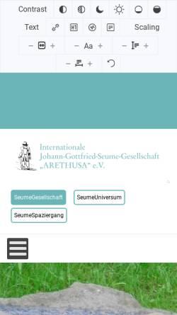 Vorschau der mobilen Webseite www.seume.de, Johann Gottfried Seume
