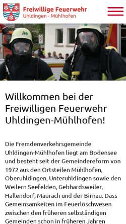 Vorschau der mobilen Webseite www.feuerwehr-uhldingen.de, Freiwillige Feuerwehr Uhldingen-Mühlhofen