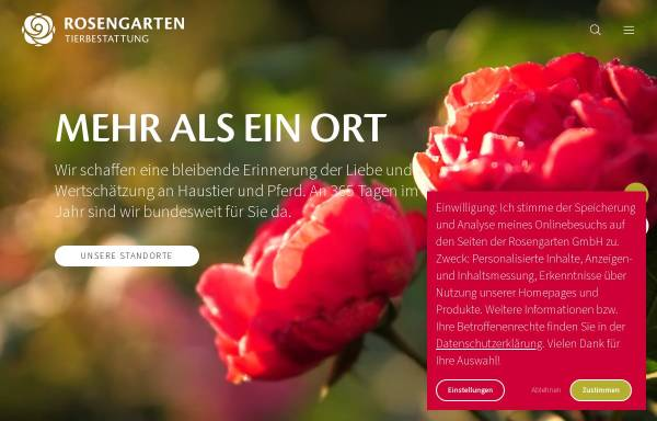 Vorschau von www.tierbestattung-im-rosengarten.de, Kleintierkrematorium im Rosengarten GmbH