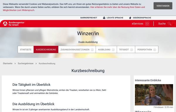 Vorschau von infobub.arbeitsagentur.de, Winzer / Winzerin