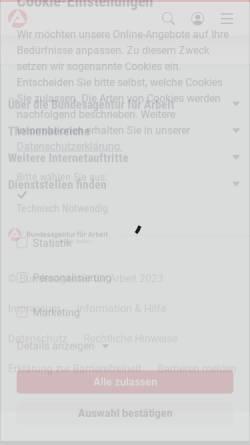 Vorschau der mobilen Webseite infobub.arbeitsagentur.de, Winzer / Winzerin