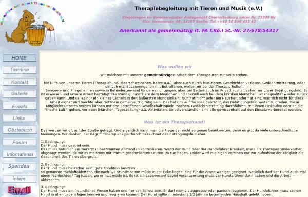 Vorschau von www.therapiebegleitung-berlin.de, Therapiebegleitung mit Tieren und Musik